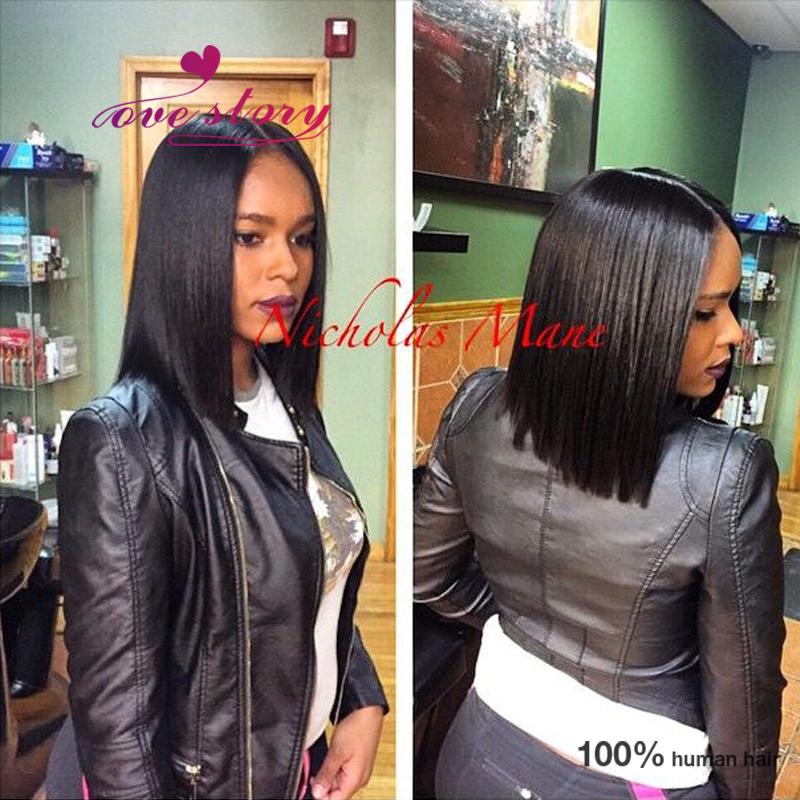 Fashion blunt bob lace front wig virgin full lace human hair wig short  haircut middle part brazilian human wigs with baby hair-in Human Hair Lace  Wigs from ... 44ea33099