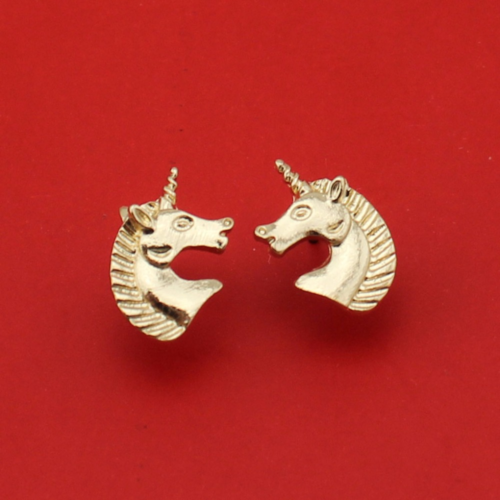 2017 New Hot Sell Women Fashion Jewelry Gold/Silver Tone Unicorn Stud Earrings ATC Cute Gift For Girls Lady Free Shipping
