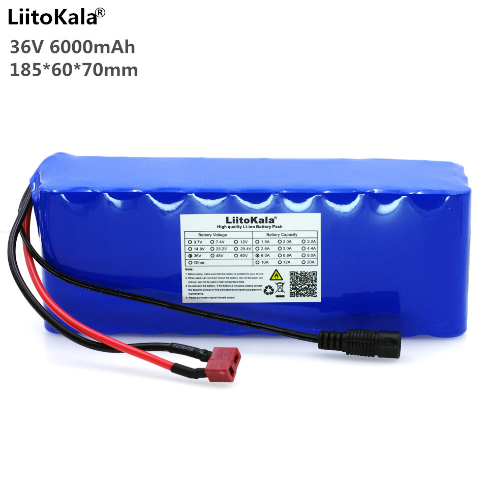 Liitokala battery pack 36V 6Ah 10S3P 18650 battery rechargeable bicycle modified, electric vehicle with protective plate PCB liitokala 36v 6ah 10s3p 18650 rechargeable battery pack modified bicycles electric vehicle protection with pcb 36v 2a charger