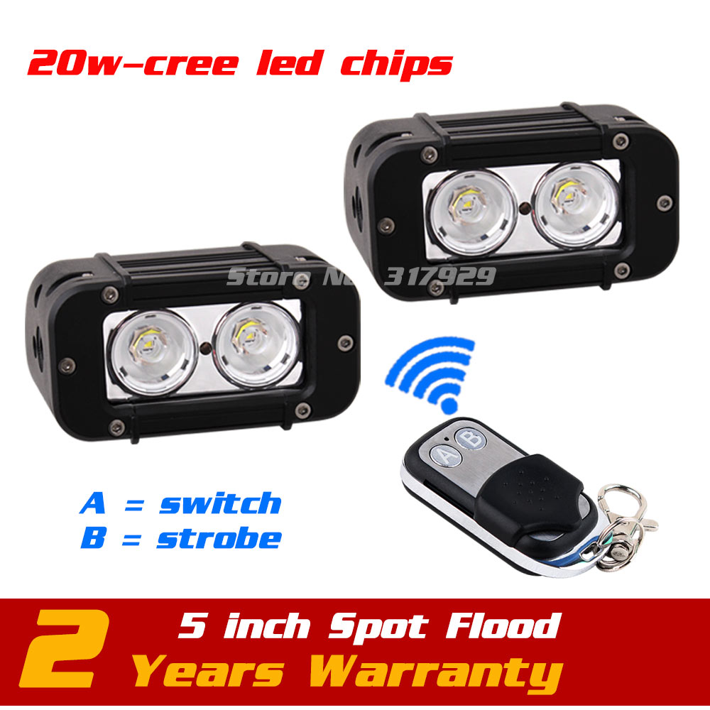 5inch 20w LED Work Light Bar Wireless Remote with Strobe Light Tractor Motorcycle ATV LED Offroad Fog Light Bar Save on27w 11 60w led work light bar wireless remote with strobe light tractor atv offroad fog light bar external light save on 72w