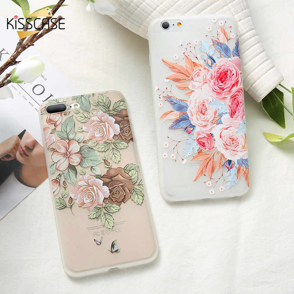BEIJOS 3D Alívio Caso Floral Para o iphone X XS XR XS Max Ultra Soft Case de Silicone Para iPhone 8 7 8 Plus 6 6 S Plus 6 5S 5 Capinha