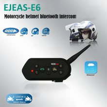 EJEAS E6 Motorcycle Helmet Intercom Communicator Helmet Interphone Headsets VOX with Handle Bar for 6 Riders