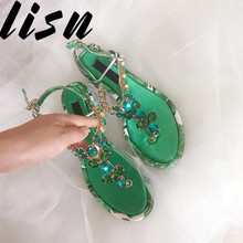 Loney New Genuine Leather Brand Designer Printed Floral Summer Spring Sandals Open Toe Crystal Diamond Low Heel Shoes