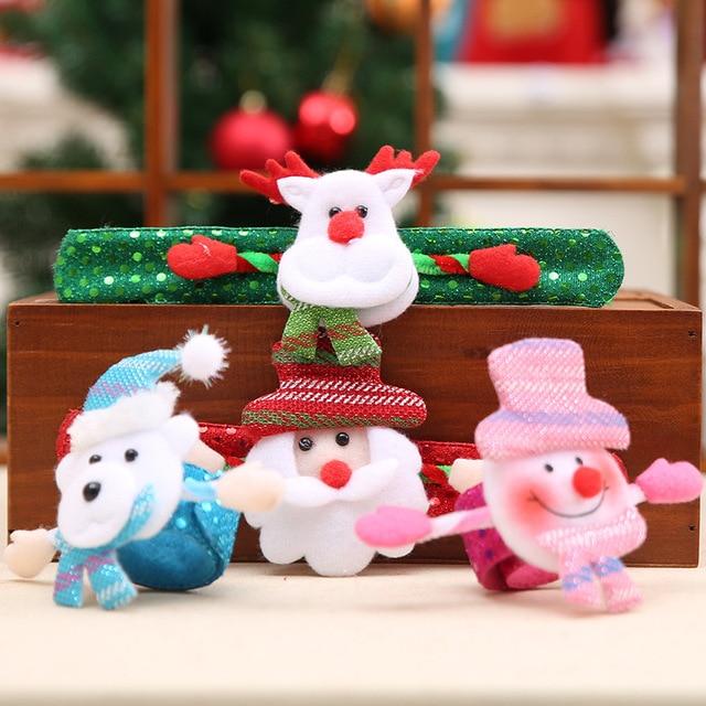 Novelty Glowing Santa Claus Snowman Christmas Slap Bracelet Pat-pat Circles Hand Ring Wristband Children Party Gift Toys SD198