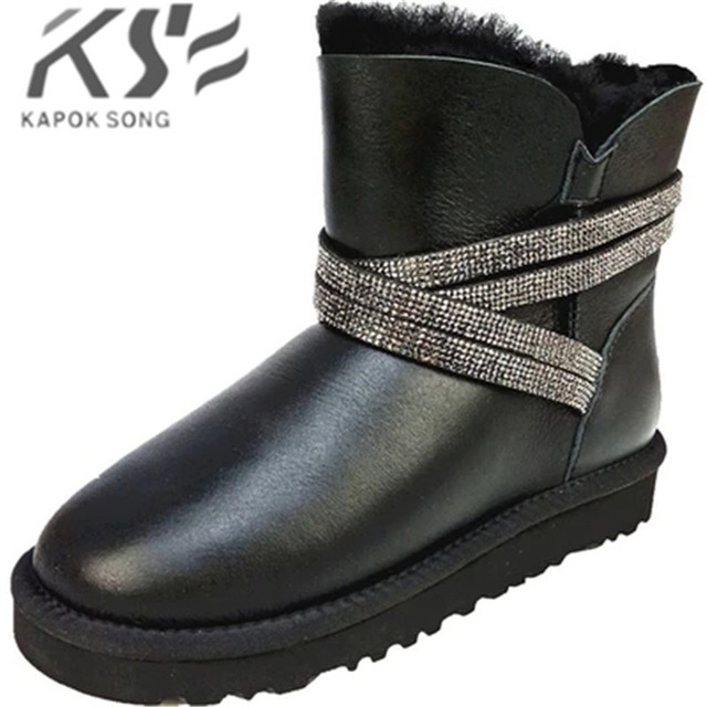 new snow boots luxury designer sheepskin and thick  wool  warm boot women shoes genuine quality fashional warm winter g boots