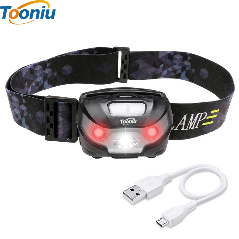 Headlamp LED Rechargeable Running Headlamps USB CREE 5W ...