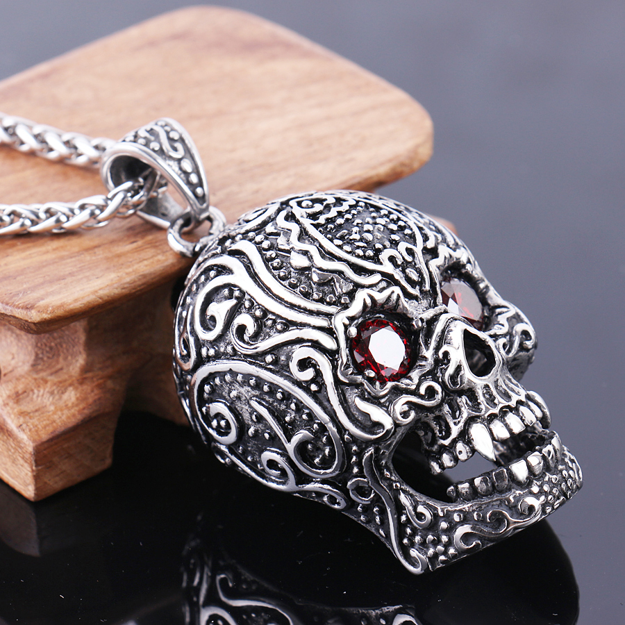 pendant skull sugar steel inox womens necklace vintage s stainless women