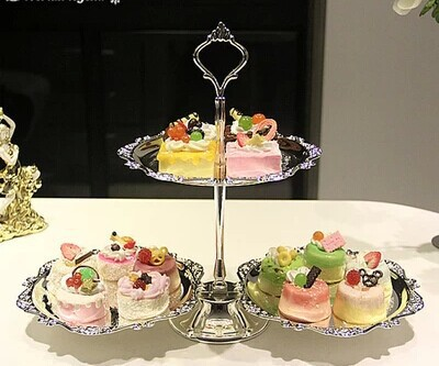 Home Dessert Serving Stand Wedding Or Party Supplies Cake Tray Plates Set Silver Trays