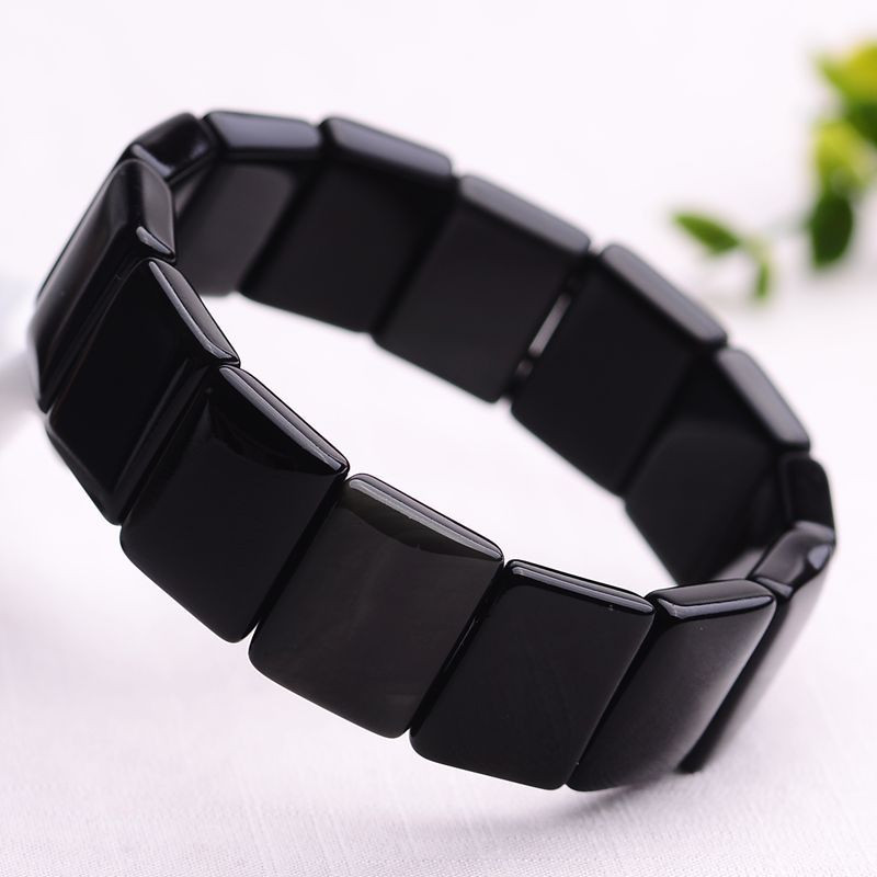 Us 1898 Natural Rainbow Obsidian Square Si Bin Stone Needle Braceletsbian Shi Hand Row Bracalet Bangel 1014mm Quality Christmas Gift In Massage