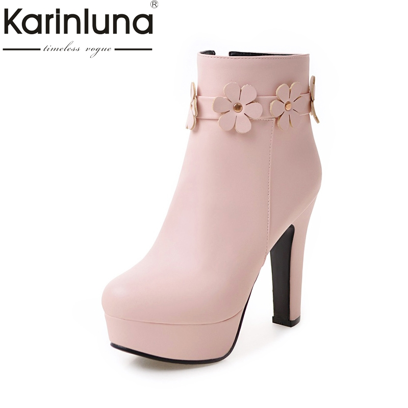 KARINLUNA 2017 Big Size 31-45 Thick Platform Flowers Women Shoes Woman Spike High Heels Winter Boot Pink White Black Ankle Boots brand new hot sales women nude ankle boots red black buckle ladies riding spike shoes high heels emb08 plus big size 32 45 11