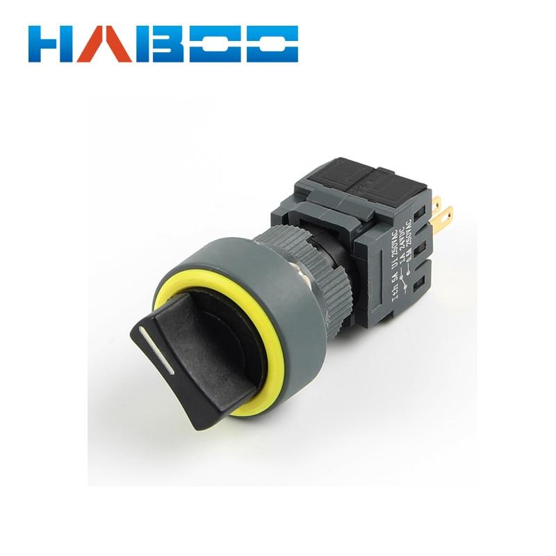 Dia.16mm haboo HB16 серии 3-позиционный поворотный Селекторный переключатель 3NO+ 3NC высокое качество 5A 250 V
