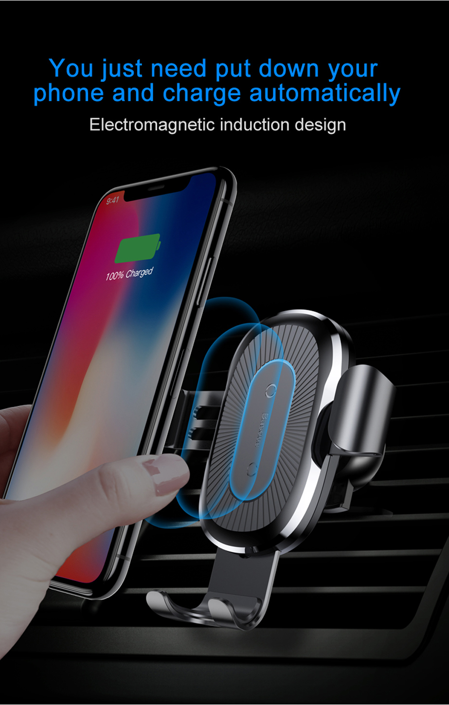 Phone - Baseus 10W QI Wireless Charger Car Holder For iPhone X Plus Samsung S8 S9 Fast Car Mount Wireless