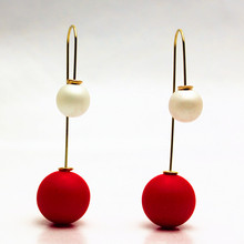 2015 NEW design fashion brand jewelry elegant stud earrings double Imitation pearls Hit color  Statement  long earring for women