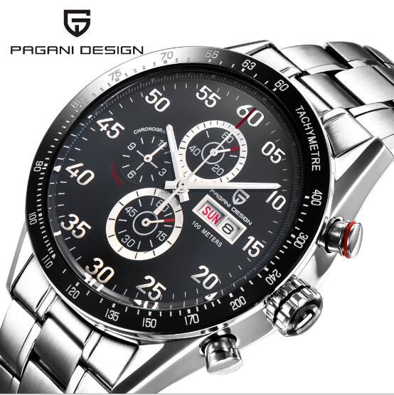 Pagani design mostrador preto multifunções quartzo cronógrafo taquímetro relógio masculino