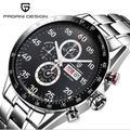 PAGANI Дизайн черный циферблат Многофункциональный кварцевый хронограф Тахиметр мужские часы
