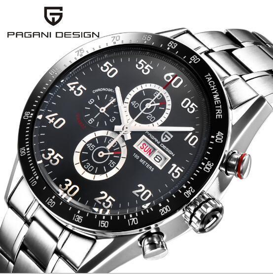 PAGANI עיצוב שחור חיוג משולב קוורץ הכרונוגרף tachymeter mens שעון