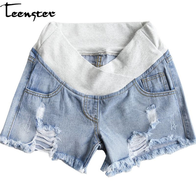 fe2d97cb6e4c6 Teenster Pregnant Jean Maternity Pants Denim Shorts Premama Broken Hole Pregnancy  Clothes Belly Supoort Pregnant Grossesse