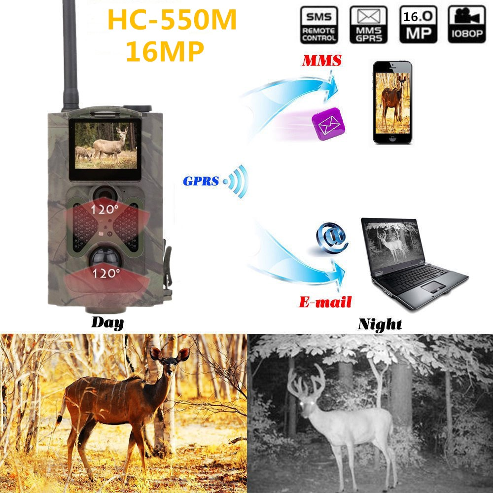 HC550M 16MP Wild camera for outdoor hunting with 48 black IR 0.5S triggered time Trail Hunting Camera 2G GSM SMS MMS hc 550m gsm gprs sms mms security hunting trail camera hc550m 16mp with 940nm black invisible vision hc 550m