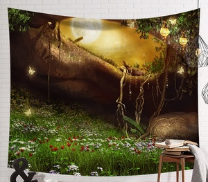 Image 2 - CAMMITEVER Fantastic Scenic Forest Cabin Green Light Big Red Mushroom Hanging Living Print Wall Tapestry Decoration New Tapestry