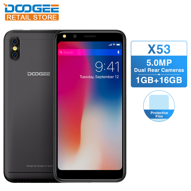 """DOOGEE X53 5.3"""" 18:9 Mobile Phone Android 7.0 MTK6580M Quad Core 1GB RAM 16GB ROM 5MP Dual Rear ..."""