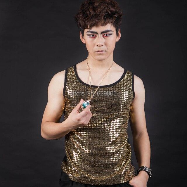 Новый стиль моды черное золото певец танцор блестками светло-жилет костюм дворец punk стиль джаз одежды ds dj одежда
