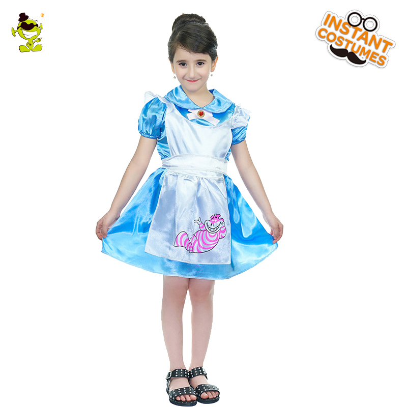 Girls Wonderland Alice Costumes Beauty Movie Character Masquerade Party Role Play Fancy Outfits For Cosplay Party Kids Girls