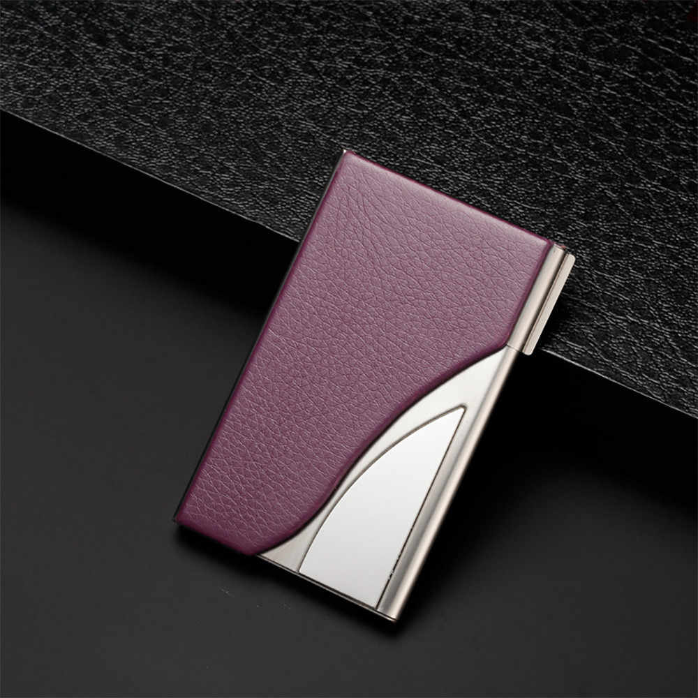 Leather Stainless Steel Business Name Card Case Holder Men Metal High QualitId credit card holder Automatic card sets