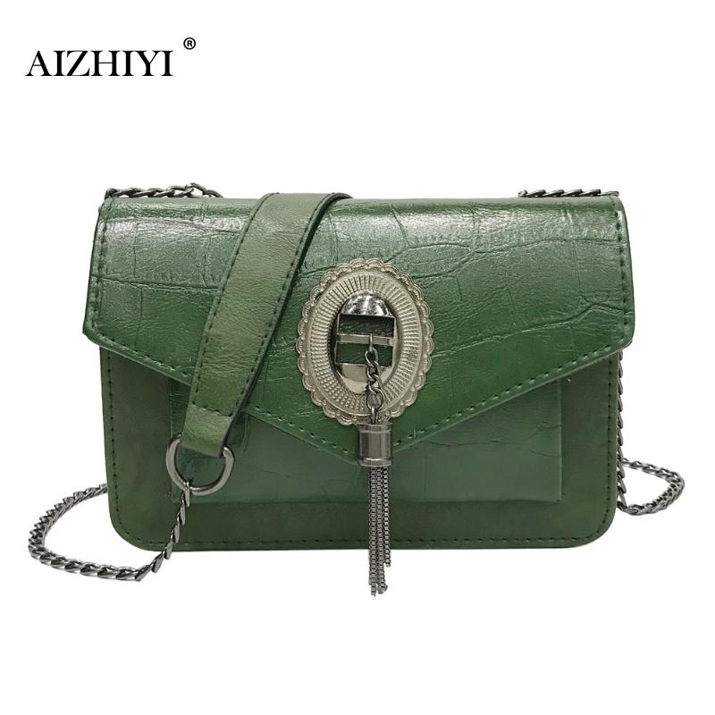 купить Retro Tassel Shoulder Bag For Girl Women PU Envelope Messenger Bags Fashion Female Chain Small Crossbody Bags Brand Handbag по цене 593.62 рублей