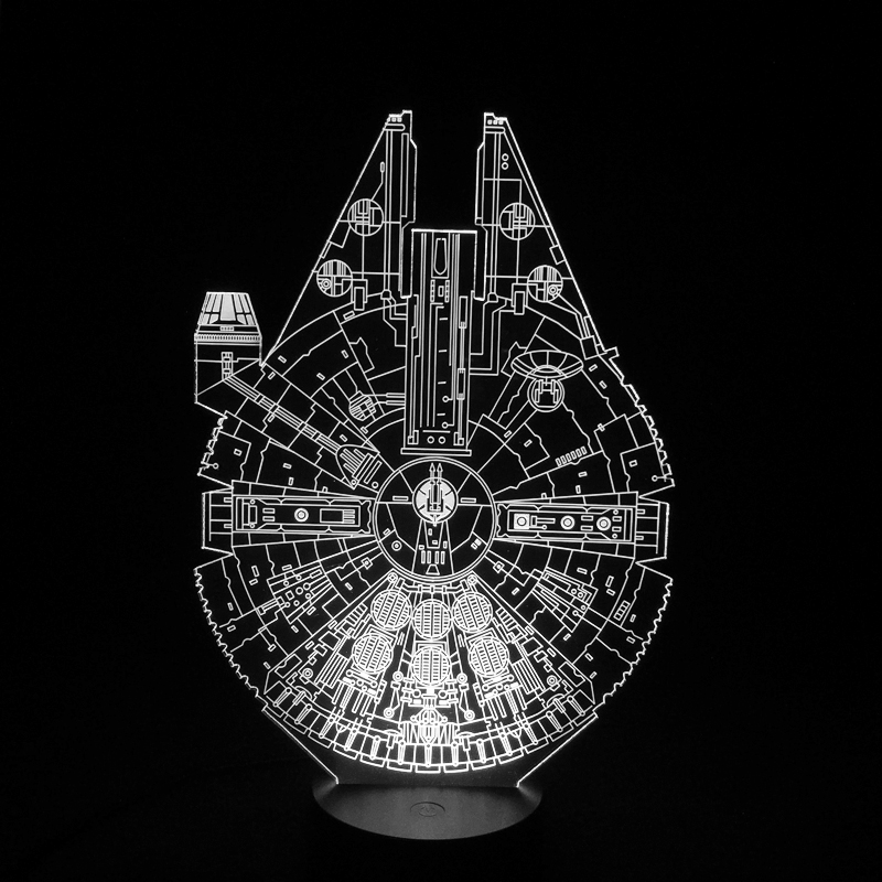 Star Wars Millennium Falcon 3D LED Night Light 7Colorful Atmosphere Lamp Novelty Lighting star wars millennium falcon 3d lamp led remote control night light usb decorative table lamp interesting gift hui yuan brand