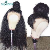 Xcsunny индийские волосы remy Glueless полный шнурок человеческих волос парики для женщин вьющиеся натуральные черные цвета с короткими волосами мл