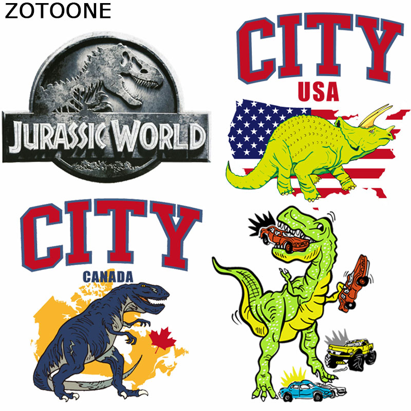 ZOTOONE Jurassic Park Patches for Clothing Flag Patch Iron on Cartoon Dinosaur Heat Transfer Applique Clothes Thermo Stickers
