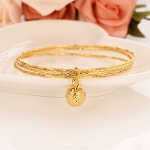 Gold bangles 18 k Solid Fine Gold Finish Lines 3 hoop bundle bangle bracelet Women jewelry Charm Hang Pendant small bell