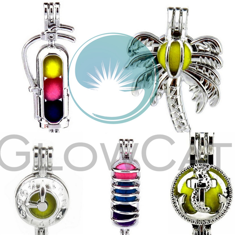 GLOWCAT Clock Coconut Tree Anchor Fire Extinguisher Gas Tank Bead Cage Jewelry Making Perfume Diffuser Pearl Cage Locket Pendant