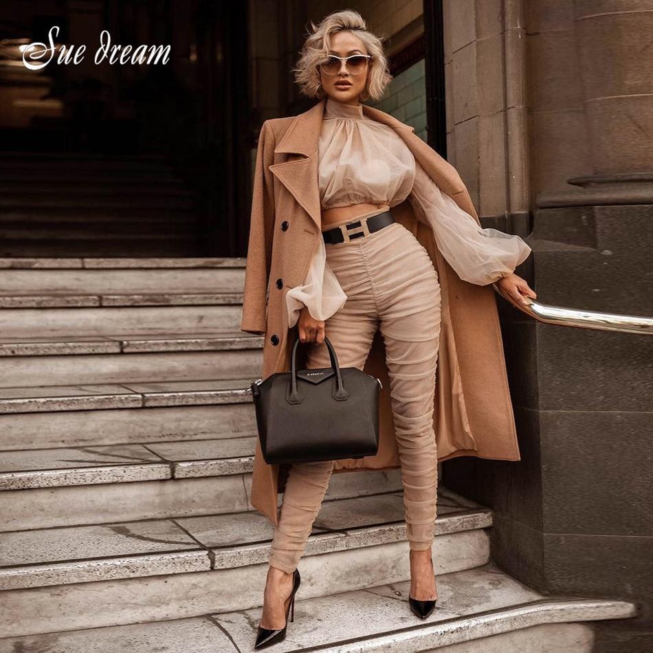 2018 ใหม่ผู้หญิง 2 ชิ้น 2 ชิ้นเสื้อแขนยาว top และดินสอกางเกง-ใน กางเกงและกางเกงรัดรูป จาก เสื้อผ้าสตรี บน   1