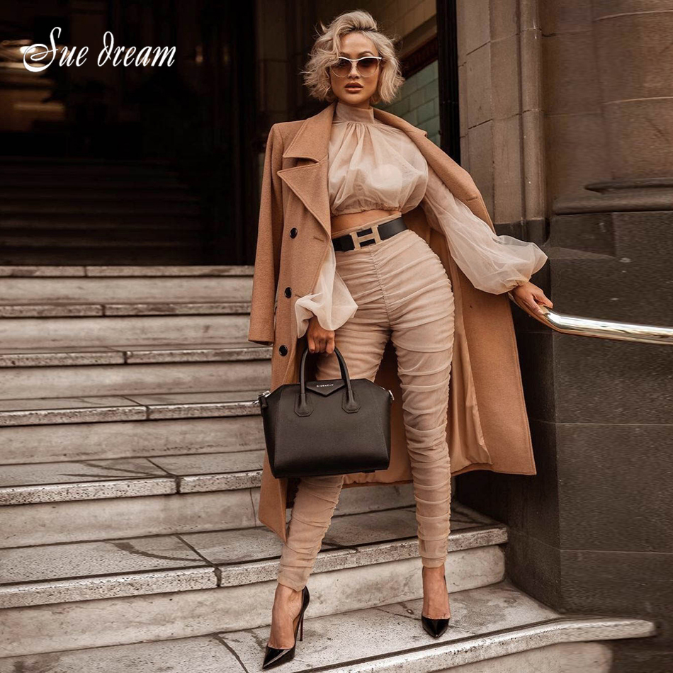 2018 New Women's 2-piece Two-piece Top And Long-sleeved Shirt, Pleated Top And Pleated Pencil Pants