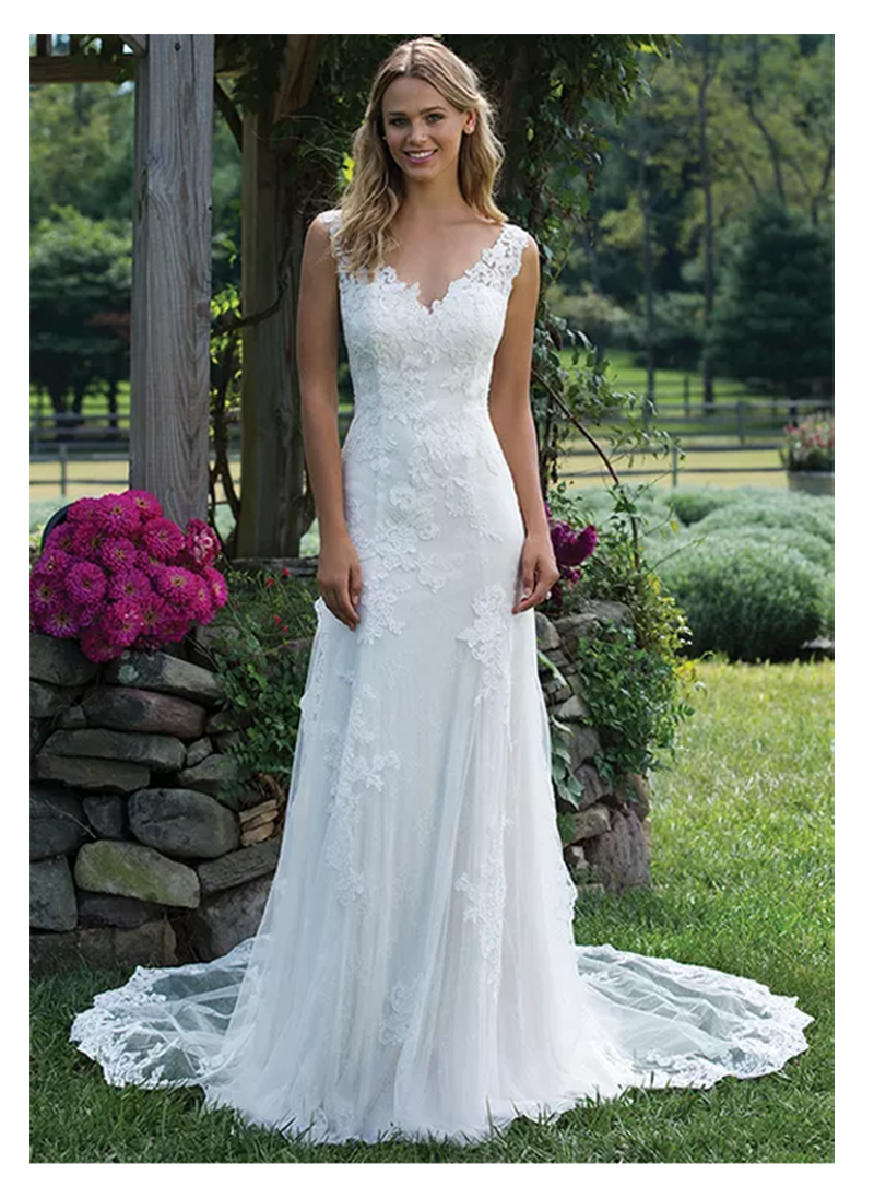 Elegant Lace Wedding Dress Vestidos De Novia 2019 Simple Mermaid Bridal Dress V Neck Sexy Romantic Floor Length Wedding Gowns