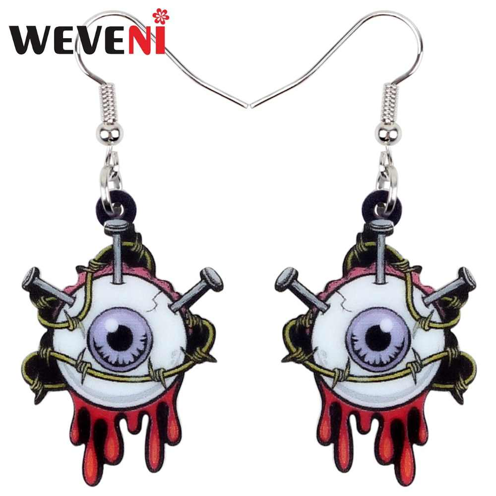 WEVENI Acrylic Halloween Horrible Eyeball Earrings Drop Dangle New Long Trendy Punk Jewelry For Women Girls Party Charms 2018