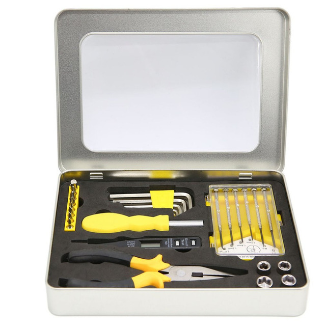 OUTAD 7pcs/set Tool Kit Practical PP Carbon Steel Repair Tools Portable Steel Box Maintenance Tools Set TM-2079 Drop Shipping