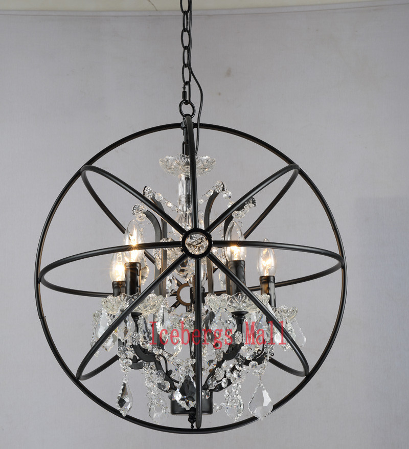 Nordic Iron Chain Cage Crystal Pendant Lights American RH Industrial Lamp Vintage Home Decor Hanging Light For Living Room4