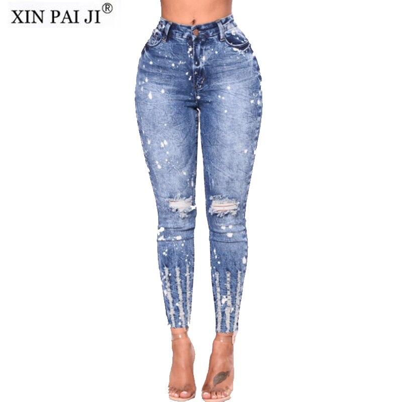 Nuovo 2018 Primavera Estate Elastico Blu Foro Strappato Jeans Donna Denim Pantaloni Per Le Donne Matita Jeans Skinny