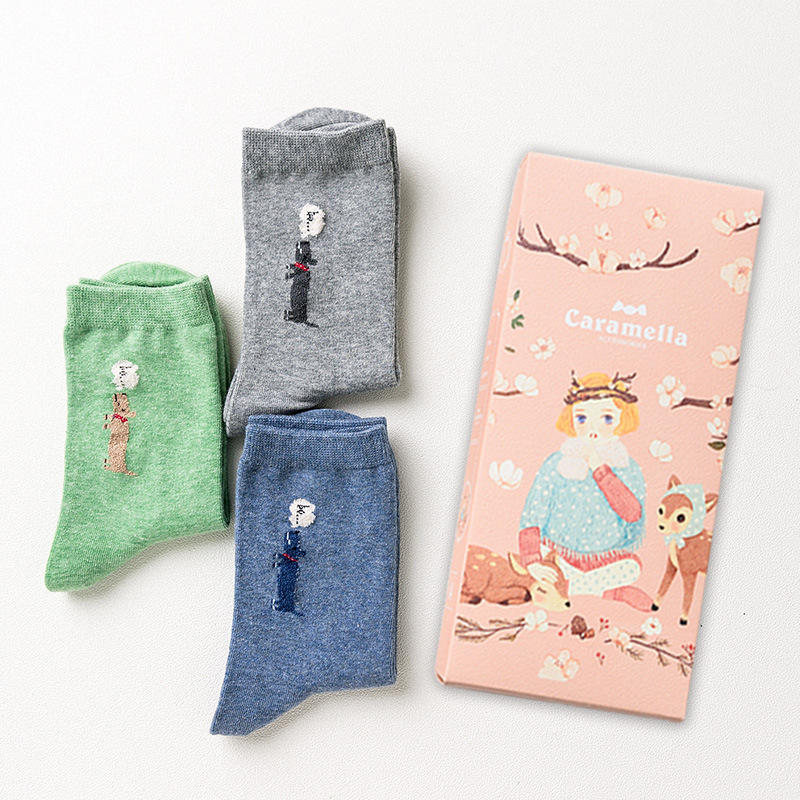 OLN Gift Box autumn winter cute cartoon chick pattern women cotton socks female fashion hi series