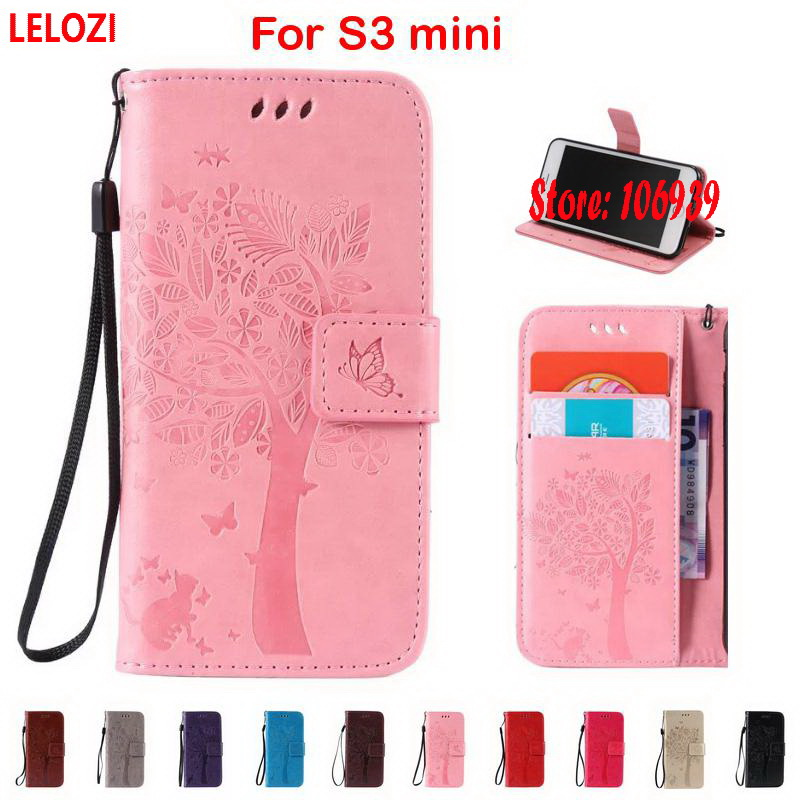 LELOZI Tree Leaf Cat Butterfly PU Leather Wallet Case For Samsung Galaxy S3 mini SIII GT-I8190 New Pink Deluxe Cheap Luxury