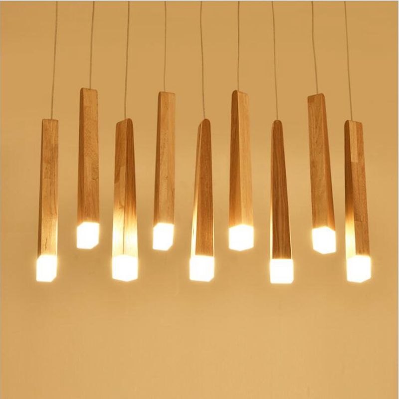 Us 21 8 18 Off Lukloy Kitchen Modern Pendant Light Wood Stick Dining Room Hanglamp Hanging Light Fixture Nordic Kitchen Lamp Fixture Luminaire In