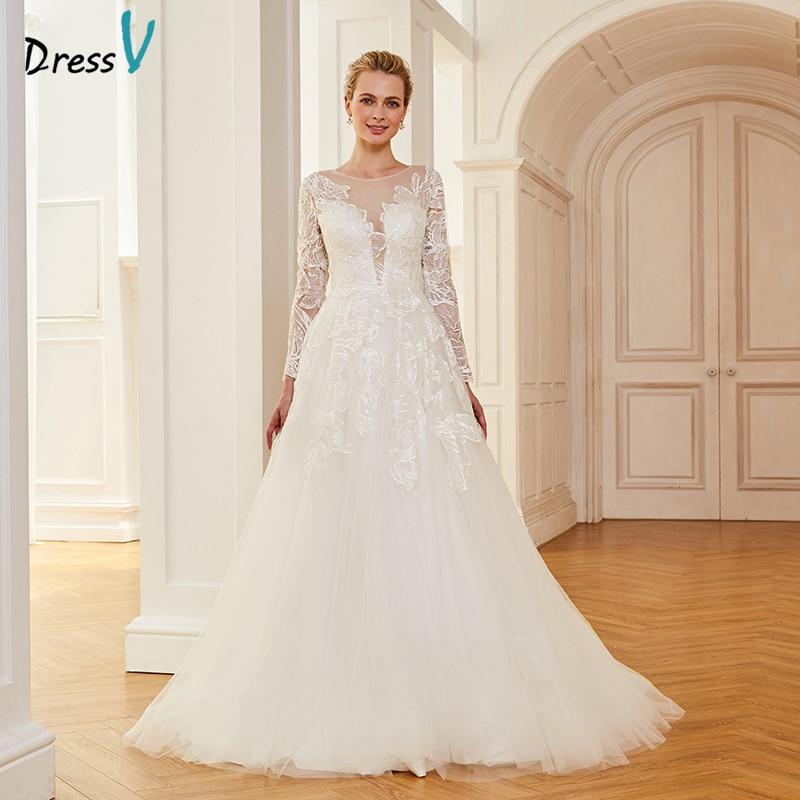 Dressv ivory wedding dress scoop neck court train long sleeves bridal ball gowns elegant outdoor&church organza wedding dresses