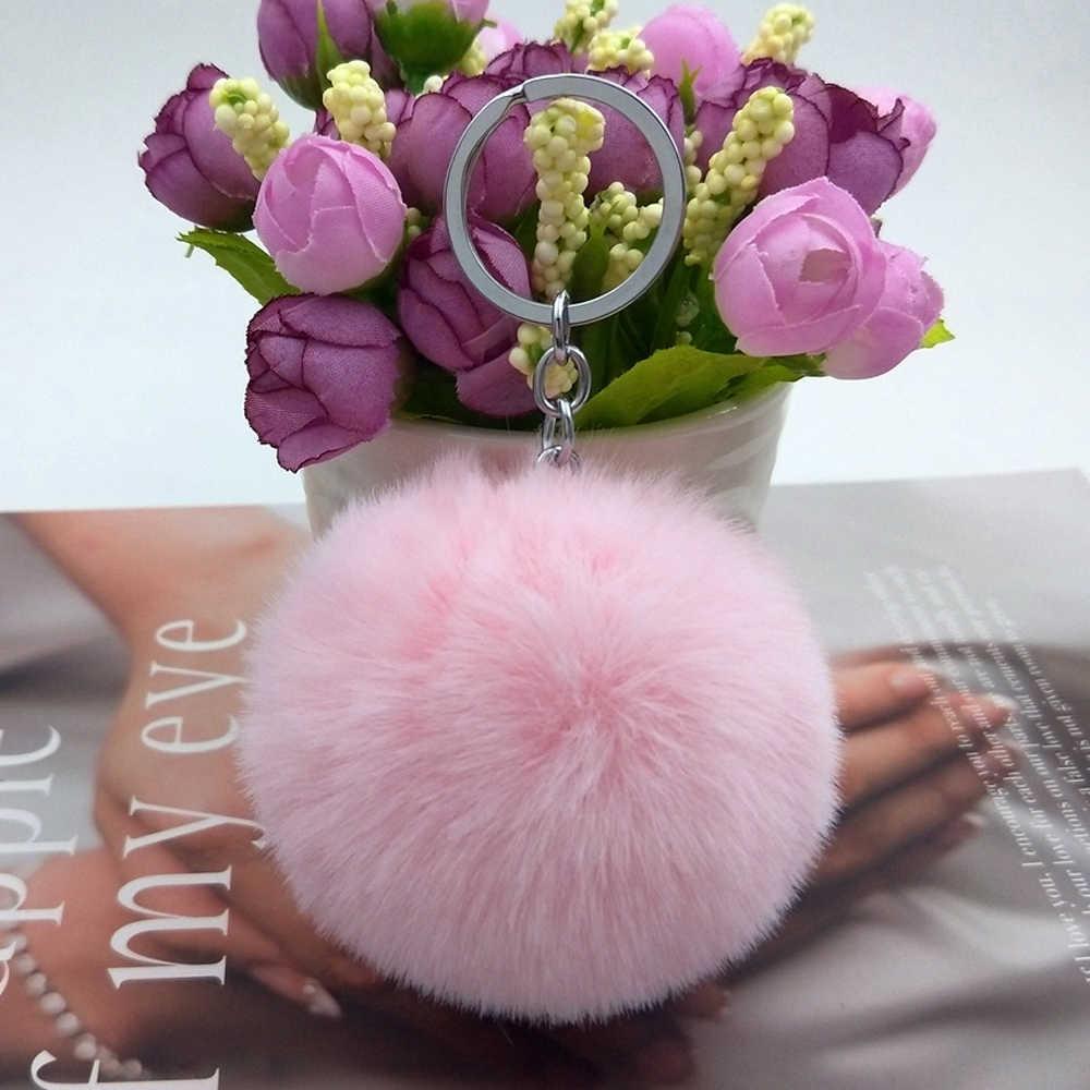 Chaveiro pom pom de pelo feminino, chaveiro fofo macio com pompom rex de pelo de coelho, 30 cores pingente joias diy