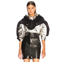 Sports Jacket 2019 New Cool Handsome Silver Metallic Coated Soft Shell Hooded Jacket Black Women Fashion Colouring Color coat цена
