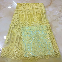 купить 5yards/lot high quality nigerian french lace embroidered tulle lace fabric for wedding dress, African lace fabric xc-1779 онлайн