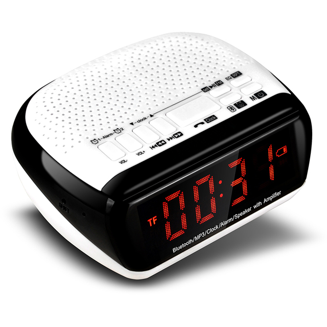 Falante Estéreo portátil Mini Dual Bluetooth Despertador Digital LCD FM Rádio Sem Fio Bluetooth Speaker Apoio TF Para Computador