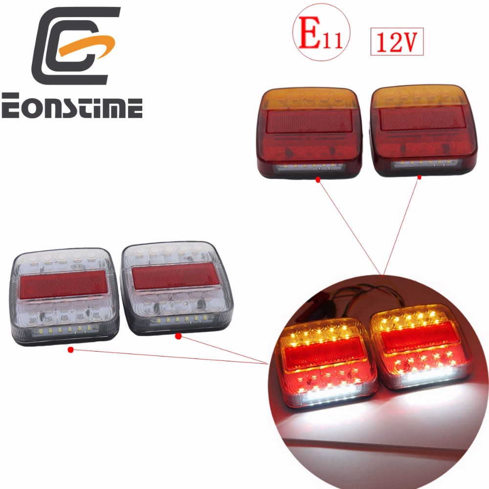 Eonstime 2pcs 12V Trailer Truck 26 LED Taillight Tail Light Rear Lamps Turn Signal Brake 6 Number Plate Lamp