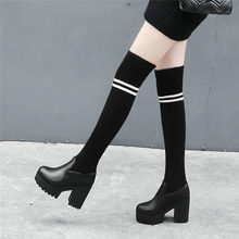 Women Black Leather Stretch Long Over The Knee High Boots Knit Stocking Thigh High Boots Round Toe Chunky High Heels Pumps Shoes цена 2017
